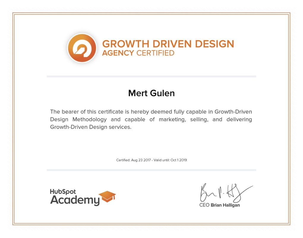 Certifications Hubspot Mert Gulen